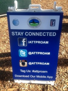 AT&T social media sign at the tourney, 2013. Credit: @James_Raia.