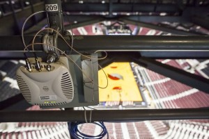 An Aruba AP inside the Moda Center