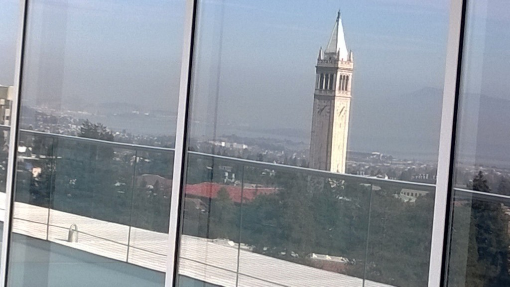An artsy shot of Cal's famed Sather Tower, aka the Campanile