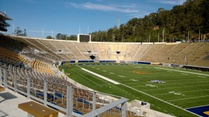 Cal's Memorial Stadium. Note the lack of overhanging structure.