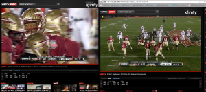 Side by side ESPN Megacast screens during BCS