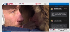 Screen shot of NBC live stream video with Twitter window to right.