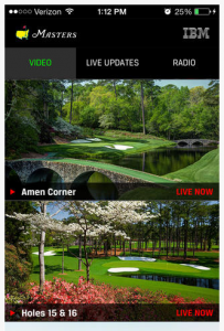 Screen shot of The Masters iPhone app. Credit: The Masters