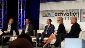 Niners president Paraag Marathe (center) at Intersport Activation Summit panel.