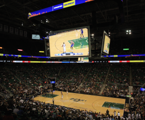 Inside shot of Energy Solutions Arena, with big new video board
