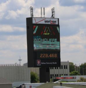 Verizon antennas atop Indianapolis Motor Speedway scoreboard.