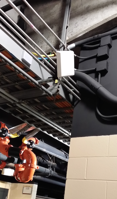 Can you find the iBeacon in the bowels of AT&T Park? It's the small grey box to the left of the other antenna.