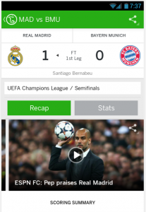Another screen shot of the ESPN FC app. Do you have World Cup Fever yet?