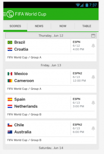 Screen shot of ESPN FC app