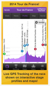 Screen shot of TourTracker TdF app