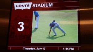 Watching the British Open live on a TV inside an elevator at Levi's Stadium.