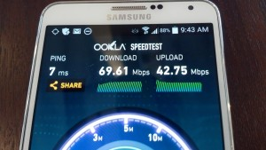 SpeedTest results from Wi-Fi network inside Levi's Stadium.