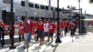 Fans transferring from CalTrain to VTA at Mtn View station