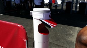 Ticket scanner with Niners visor to block sun