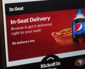 Screen grab from Levi's Stadium app showing in-seat food delivery option. Credit all photos: Paul Kapustka, Mobile Sports Report.