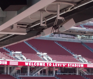 DAS antennas hanging from a Levi's Stadium overhang. Credit, all Levi's photos: Paul Kapsutka, MSR
