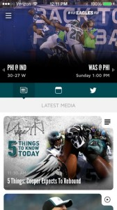 Screen shot of Eagles' stadium app