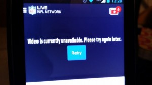 NFL Mobile screen shot of server fail during Week 1. Photo Credit: Paul Kapustka, MSR