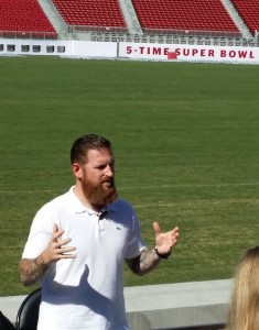 Dan Williams talks Wi-Fi while the Levi's Stadium new turf grows silently behind him.