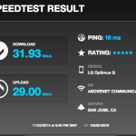 Speed test results from outer concourse location, Levi's Stadium, pregame
