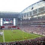 Stadium with roof open