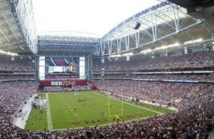Stadium with roof open