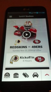 Midseason version of Levi's Stadium app, with clearer icons on main screen