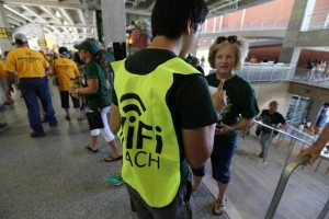 "Wi-Fi ""coach"" helps out at McLane Stadium."