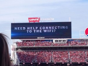 Scoreboard promo for the Levi's Wi-Fi network