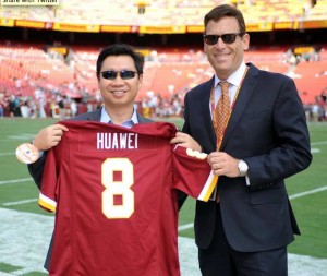 Ming He, Country General Manager for Huawei in the U.S. (left), and Rod Nenner, Vice President of the Washington Redskins (right), pictured together when Huawei announced the team sponsorship and partnership.