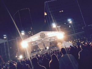 ESPN's College Football Playoff Championships stage in downtown Fort Worth, Sunday night. Credit: Paul Kapustka, MSR
