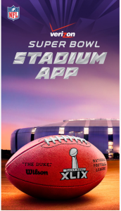 Screen shot of Super Bowl app for this year's game.