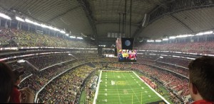 Inside AT&T Stadium at the College Football Championship game. Credit all photos: Paul Kapustka, MSR