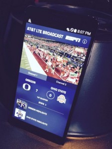 AT&T LTE Broadcast demo, showing a live streaming broadcast of the game