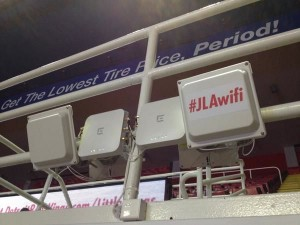 "Wi-Fi antennas at the ""Joe"" displaying the cleverly named SSID"