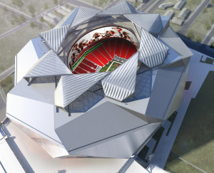 Artist's rendering of planned overhead view of new Atlanta NFL stadium
