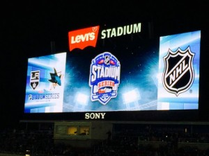 Levi's Stadium scoreboard during Stadium Series hockey game. Credit all images: Paul Kapustka, MSR (click on any photo for larger image).