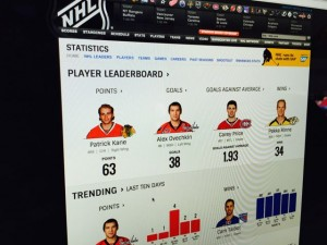 New NHL stats page showing player info