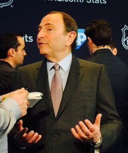 NHL Commissioner Gary Bettman, at Levi's Stadium press conference. Credit all photos: Paul Kapustka, MSR (click on any photo for a larger image).