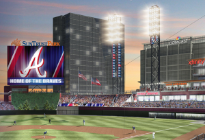 Screen shot of artist rendering of new Atlanta Braves ballpark, with Comcast office building over right-field wall. Credit: Atlanta Braves