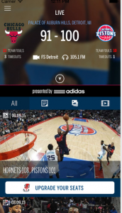 Screen shot of Pistons app