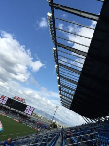 A view to give perspective on how far away the roof-beam APs are from the stands