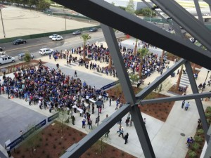 Fans waiting to get in, about a half hour before game time
