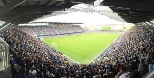 Panoramic view of the packed house at Avaya Stadium for the official debut.