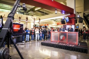 Toyota pregame show on the Moda Center concourse