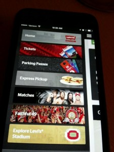 Screen shot of Levi's Stadium app with in-seat delivery option missing in action. Credit: Paul Kapustka, MSR