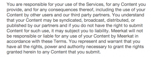Small text snippet from Meerkat TOS... you are own your own when it comes to rights violations!