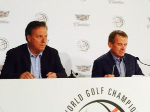 MLBAM's Bob Bowman (L) and PGA Tour commissioner Tim Finchem announce the new PGA Tour Live service at the WGC Match Play event. Credit all photos: Paul Kapustka, MSR (click on any photo for larger image)