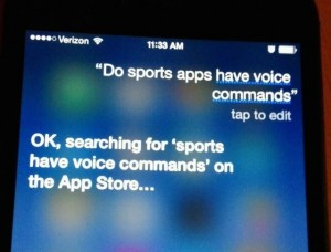 Siri can answer lots of things, but she can't tell you why sports apps don't have voice commands.