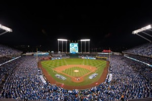 Kansas City's Kauffman Stadium, during last year's World Series. Photo: MLB Photos